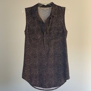 LOFT Speckled Gray Pocket Collared Tank XS